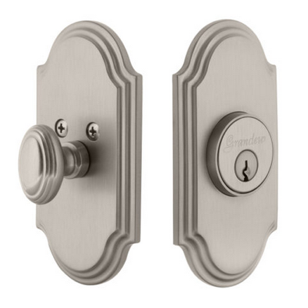 Grandeur Arc Single Cylinder Deadbolt Satin Nickel