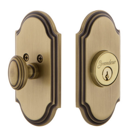Grandeur Arc Single Cylinder Deadbolt Vintage Brass