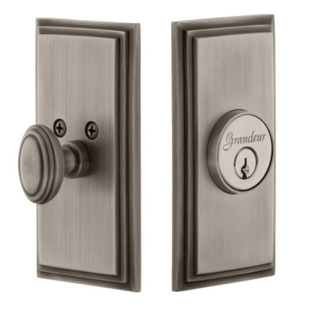 Grandeur Carre Single Cylinder Deadbolt Antique Pewter
