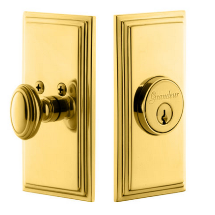 Grandeur Carre Single Cylinder Deadbolt Lifetime Polished Brass