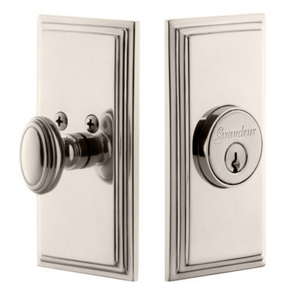 Grandeur Carre Single Cylinder Deadbolt Polished Nickel