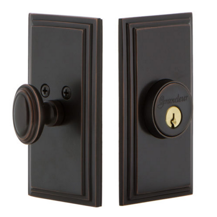 Grandeur Carre Single Cylinder Deadbolt Timeless Bronze
