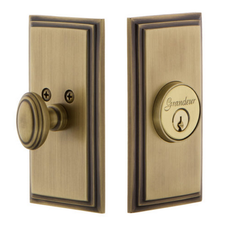 Grandeur Carre Single Cylinder Deadbolt Vintage Brass