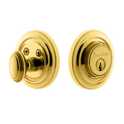 Grandeur Circulaire Single Cylinder Deadbolt Lifetime Polished Brass