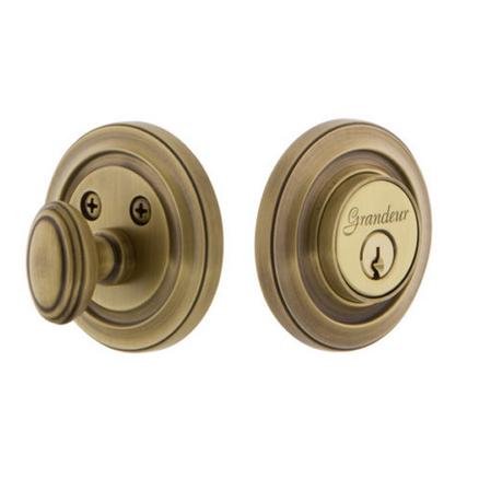 Grandeur Circulaire Single Cylinder Deadbolt Vintage Brass