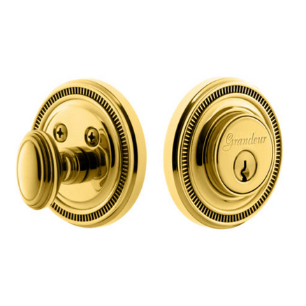 Grandeur Soleil Single Cylinder Deadbolt Lifetime Polished Brass