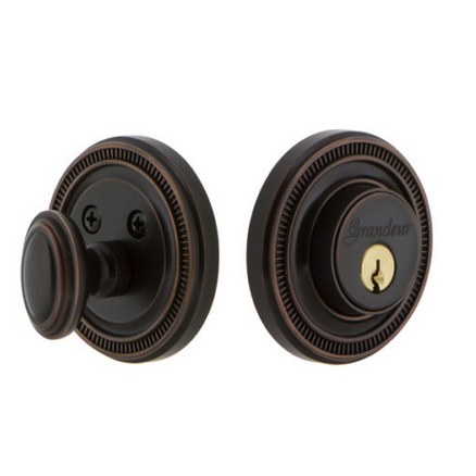 Grandeur Soleil Single Cylinder Deadbolt Timeless Bronze