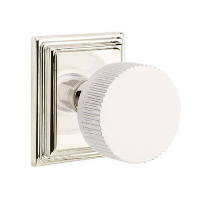 Emtek Select Straight Knurled Door Knob Set with Conical Stem Wilshire Rose Polished Chrome