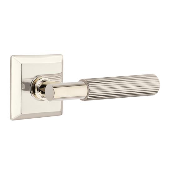 Emtek Select Straight Knurled Door Lever Set with T-Bar Stem Quincy Rose Polished Nickel (US14)