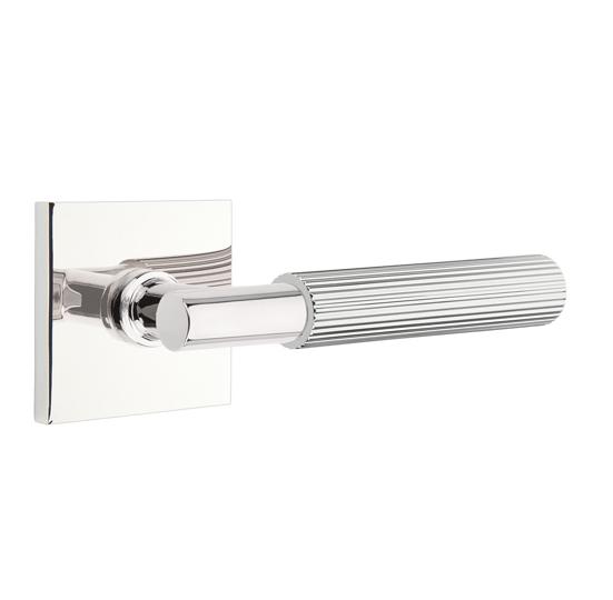 Emtek Select Straight Knurled Door Lever Set with T-Bar Stem Square Rose Polished chrome