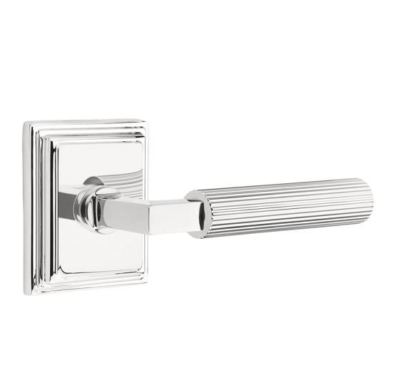 Emtek Select Straight Knurled Door Lever Set with L-Square Stem Wilshire Rose Polished Chrome