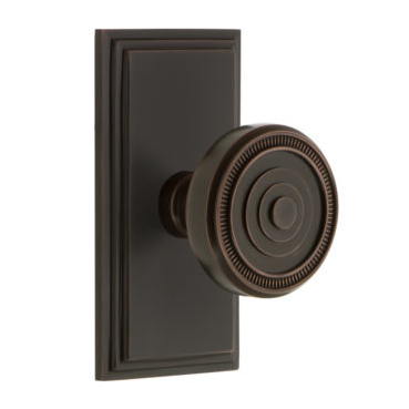 Grandeur Soleil Door Knob Set with Carre Short Plate Timeless Bronze