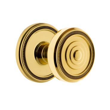 Grandeur Soleil Door Knob Set with Soleil Rose Polished Brass