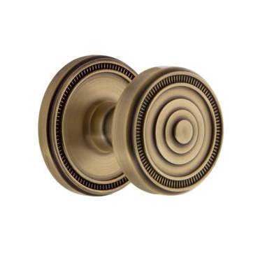 Grandeur Soleil Door Knob Set with Soleil Rose Vintage Brass
