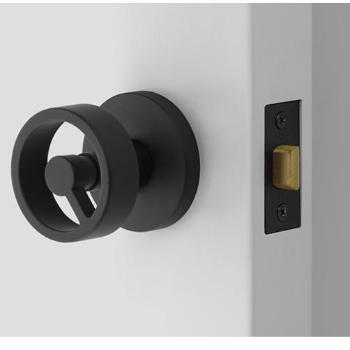 Emtek 5109SPKUS19 Spoke Studio Brass Door Knob Set Flat Black