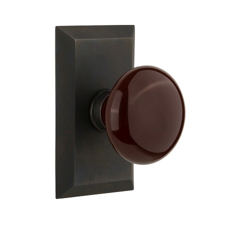 Nostalgic Warehouse Studio Plate with Brown Porcelain Knob Oil Rubbed Bronze