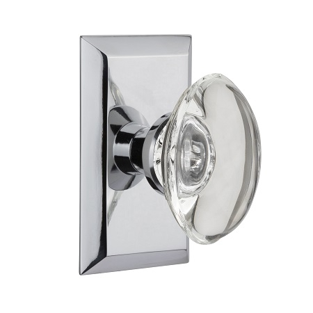 Nostalgic Warehouse Studio Plate with Oval Crystal Knob Bright Chrome