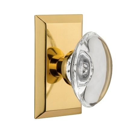 Nostalgic Warehouse Studio Plate with Oval Crystal Knob Polished Brass