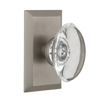 Nostalgic Warehouse Studio Plate with Oval Crystal Knob Satin Nickel