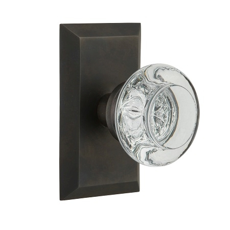 Nostalgic Warehouse Studio Plate with Round Clear Crystal Knob Oil Rubbed Bronze