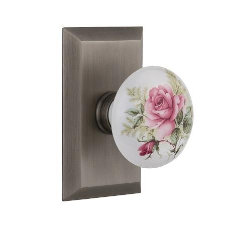 Nostalgic Warehouse Studio Plate with Rose Porcelain Knob Antique Pewter