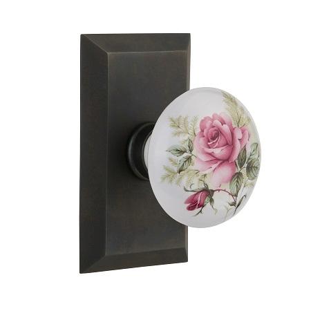 Nostalgic Warehouse Studio Plate with Rose Porcelain Knob Oil Rubbed Bronze