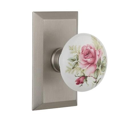 Nostalgic Warehouse Studio Plate with Rose Porcelain Knob Satin Nickel