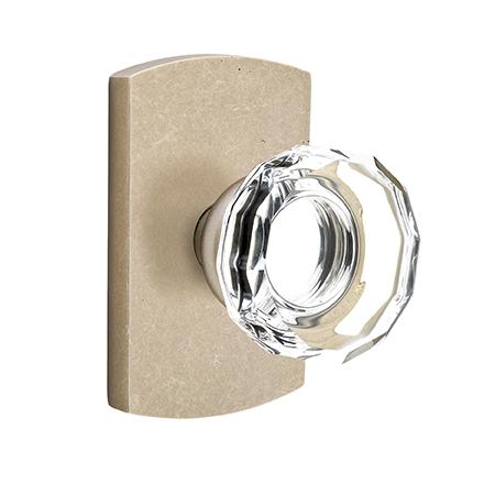 Emtek Bronze Lowell Crystal Door Knob Set with #4 Rose Tumbled White Bronze