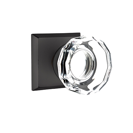 Emtek Bronze Lowell Crystal Door Knob Set with #6 Rose Flat Black Patina