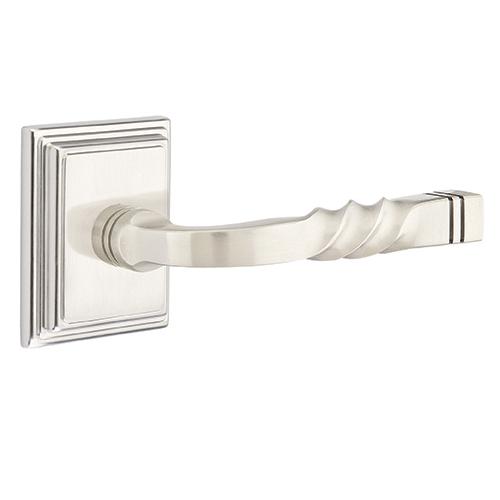 Emtek Santa Fe Door lever with Wilshire Rose Satin Nickel (US15)