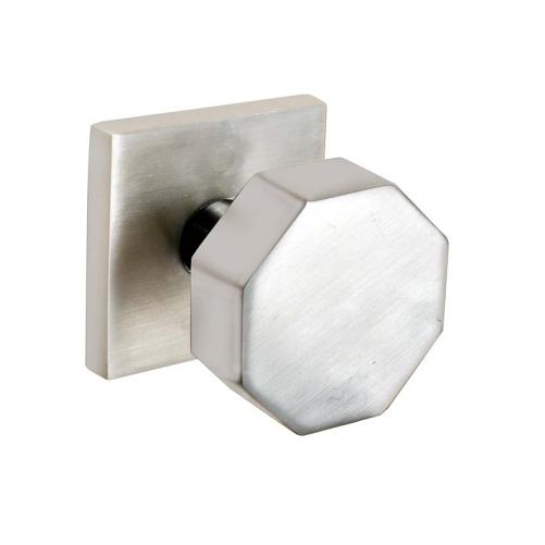 Emtek Stainless Steel Octagon Door Knob Set with Square Rose