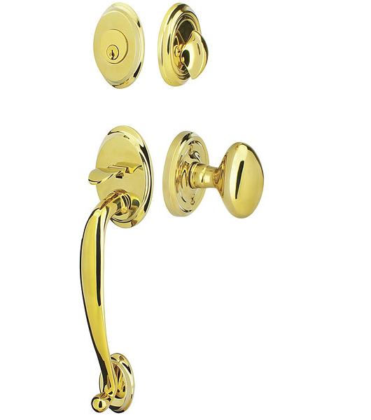 Emtek 4410 Saratoga Handleset with Egg Door Knob Lifetime Brass (PVD)