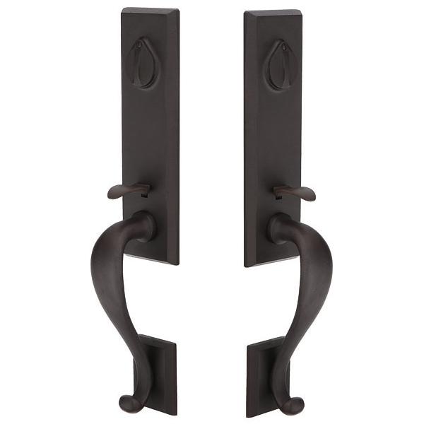 Emtek 454515 Rectangular Monolithic Grip by Grip Handleset Flat Black Patina FB