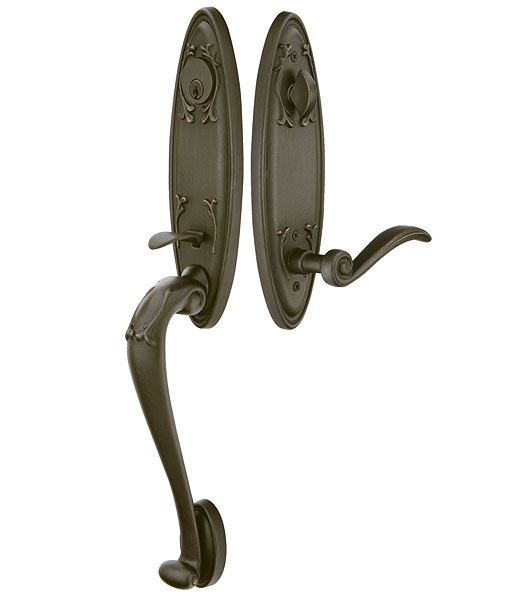 Emtek 471112 Tuscan Handleset with Medici Lever Medium Bronze Patina (MB)