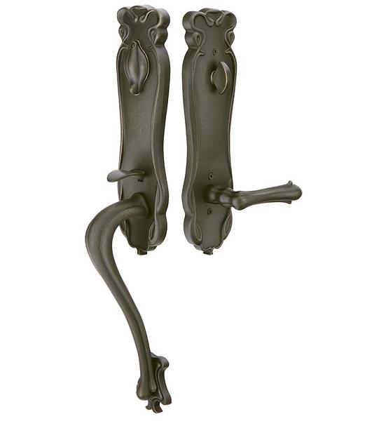 Emtek 471333 Art Nouveau Handleset with Art Nouveau Lever Medium Bronze Patina