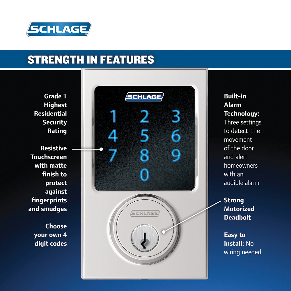 Schlage Be469nx Cen Century Touch Screen Deadbolt With