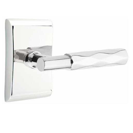 Emtek Select Tribeca Door Lever Set with T-Bar Stem with Neos Rose in Polished Chrome