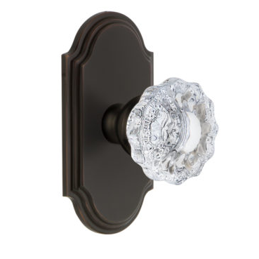 Grandeur Versailles Door Knob Set with Arc Short Plate Timeless Bronze