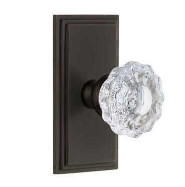 Grandeur Versailles Door Knob Set with Carre Short Plate Timeless Bronze