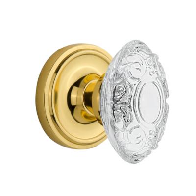 Nostalgic Warehouse Crystal Victorian Knob Set with Classic Rose Polished Brass