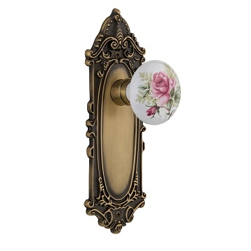 Nostalgic Warehouse Victorian Backplate with Rose Porcelain knob