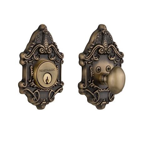 Nostalgic Warehouse Victorian Single Cylinder Deadbolt Antique Brass (AB)