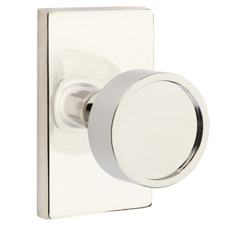 Emtek Modern Verve Door Knob Set with Modern Rectangular Rose in Polished Nickel