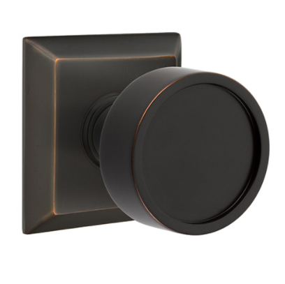 Emtek Modern Verve Door Knob Set with Quincy Rose Oil Rubbed Bronze