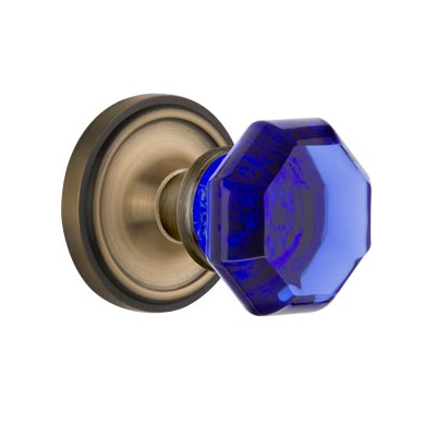 Nostalgic Warehouse Waldorf Cobalt Crystal Knob Set Classic Rose in Antique Brass