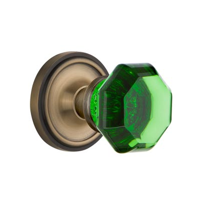 Nostalgic Warehouse Waldorf Emerald Green Crystal Knob Set Classic Rose Antique Brass