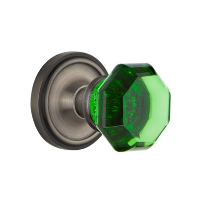 Nostalgic Warehouse Waldorf Emerald Green Crystal Knob Set Classic Rose Antique Pewter