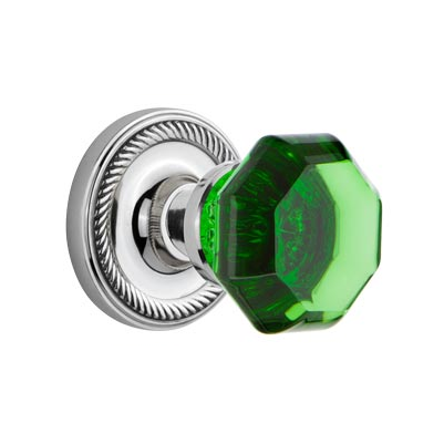 Nostalgic Warehouse Waldorf Emerald Green Crystal Knob Set Rope Rose Polished Chrome