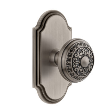 Grandeur Windsor Door Knob Set with Arc Short Plate Antique Pewter