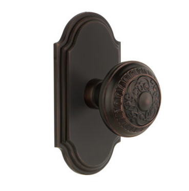 Grandeur Windsor Door Knob Set with Arc Short Plate Timeless Bronze